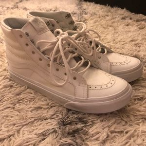 Vans Sk8-Hi White Leather High Top Metal Lace Rare